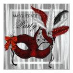 Red Black White Masquerade Party Invites