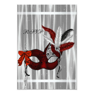 Red Black White Masquerade Party RSVP Card