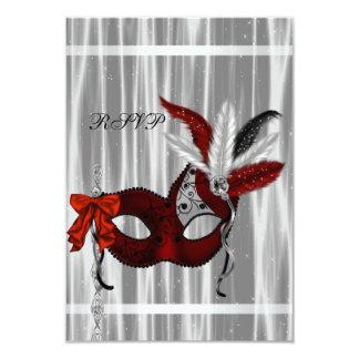 "Red Black White Masquerade Party RSVP 3.5"" X 5"" Invitation Card"