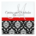 Red Black White Monogram Damask Wedding Invite