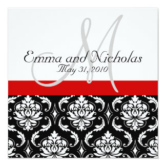 Red Black White Monogram Damask Wedding Invite