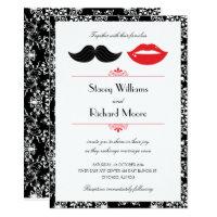 Red, Black & White Mustache & Lips Damask Wedding Invitation