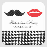 Red, Black & White Mustache & Lips Houndstooth Wed Square Sticker