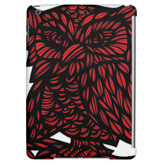 Red Black White Owl Artwork Drawing Cover For iPad Air
