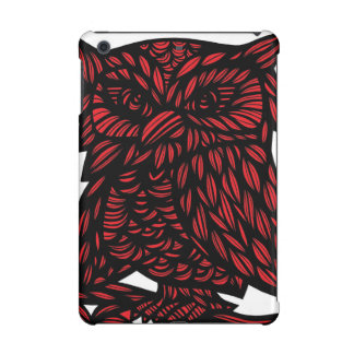 Red Black White Owl Artwork Drawing iPad Mini Case