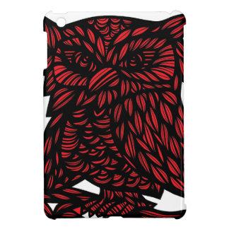 Red Black White Owl Artwork Drawing iPad Mini Cover