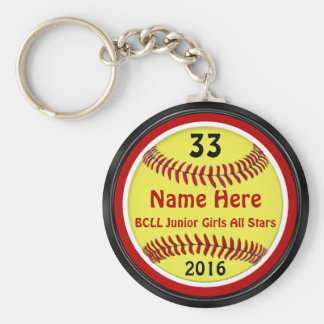Red, Black, White PERSONALIZED Softball Keychains