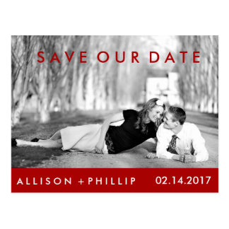 Red Black White Photograph Wedding Save Date Postcard