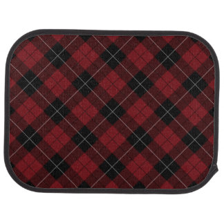 Red Black White Plaid Diagonal Car Floor Mat