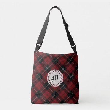 linda_mn Red Black White Plaid Monogram Crossbody Bag