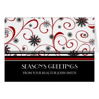 Red Black White Real Estate Season's Greetings Card