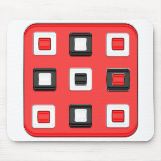 Red, black & white retro style squares mouse pad