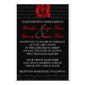 Red, Black, White, Rose Invitation