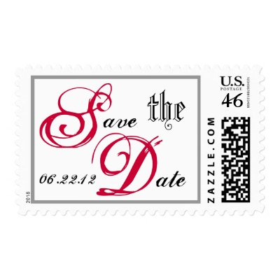 RED BLACK WHITE Save the Date Wedding Postage stamp