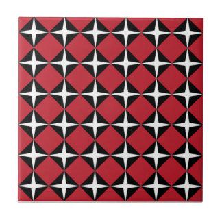 Red Black & White Star Diamonds Ceramic Tile