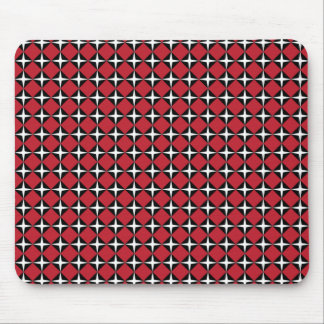 Red Black & White Star Diamonds Mouse Pad