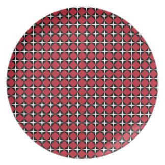 Red Black & White Star Diamonds Plate