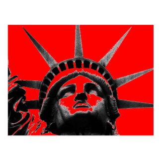 Red Black White Statue of Liberty Pop Art Postcard