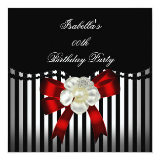 Red Black White Stripe Pearl Bow Image Card