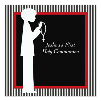 Red Black White Stripe Rosary Boys First Communion Card