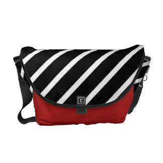 Red & black white striped - Messenger Bag