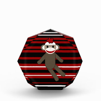 Red Black White Striped Sock Monkey Girl Sitting Acrylic Award