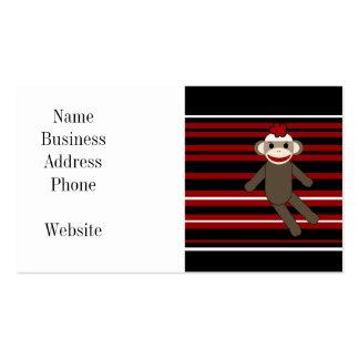Red Black White Striped Sock Monkey Girl Sitting Business Card