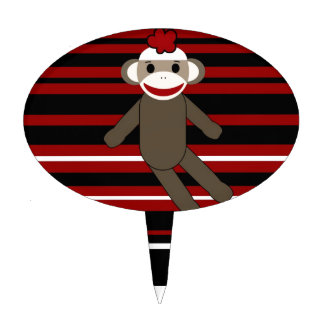 Red Black White Striped Sock Monkey Girl Sitting Cake Topper