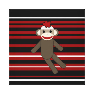 Red Black White Striped Sock Monkey Girl Sitting Canvas Print