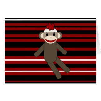 Red Black White Striped Sock Monkey Girl Sitting Cards