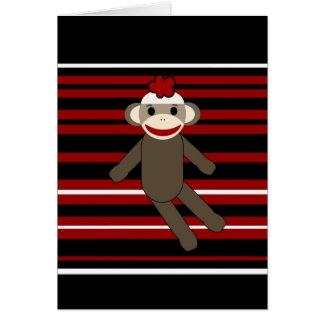 Red Black White Striped Sock Monkey Girl Sitting Card