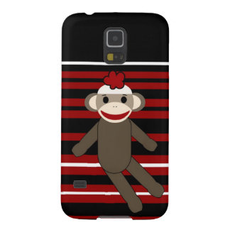 Red Black White Striped Sock Monkey Girl Sitting Cases For Galaxy S5
