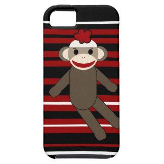 Red Black White Striped Sock Monkey Girl Sitting iPhone 5 Case