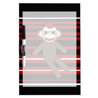 Red Black White Striped Sock Monkey Girl Sitting Dry Erase Board
