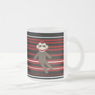 Red Black White Striped Sock Monkey Girl Sitting Frosted Glass Coffee Mug