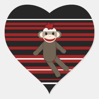 Red Black White Striped Sock Monkey Girl Sitting Heart Sticker
