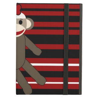 Red Black White Striped Sock Monkey Girl Sitting iPad Air Cover