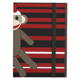 Red Black White Striped Sock Monkey Girl Sitting iPad Folio Cases