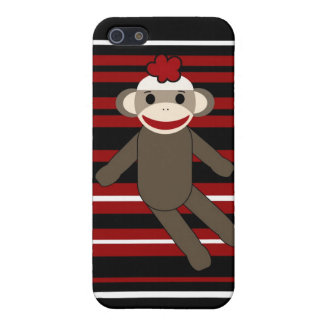 Red Black White Striped Sock Monkey Girl Sitting Cover For iPhone 5