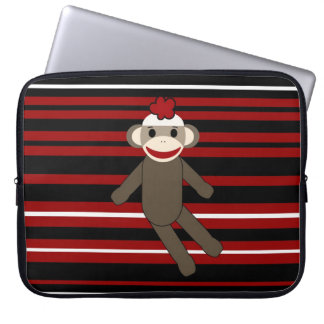 Red Black White Striped Sock Monkey Girl Sitting Laptop Computer Sleeves