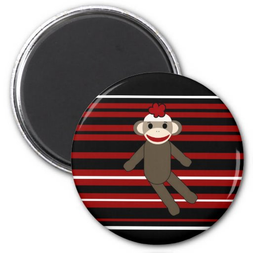 Red Black White Striped Sock Monkey Girl Sitting 2 Inch Round Magnet