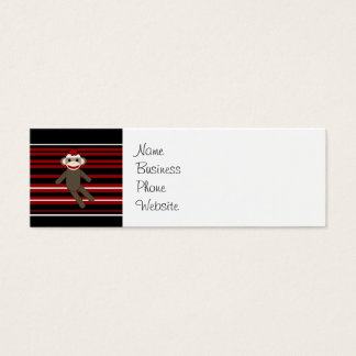 Red Black White Striped Sock Monkey Girl Sitting Mini Business Card