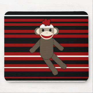 Red Black White Striped Sock Monkey Girl Sitting Mouse Pad