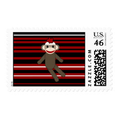 Red Black White Striped Sock Monkey Girl Sitting Postage