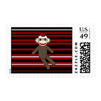 Red Black White Striped Sock Monkey Girl Sitting Postage