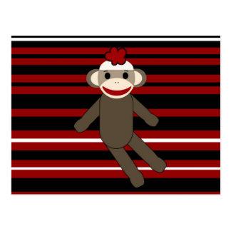 Red Black White Striped Sock Monkey Girl Sitting Postcard