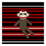 Red Black White Striped Sock Monkey Girl Sitting Poster