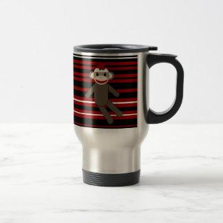 Red Black White Striped Sock Monkey Girl Sitting Travel Mug