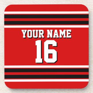 Red Black White Team Jersey Custom Number Name Beverage Coaster
