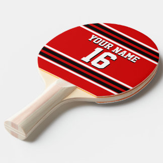 Red Black White Team Jersey Custom Number Name Ping-Pong Paddle